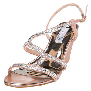 Rose Gold Wedges Strappy Sandals - SheSole