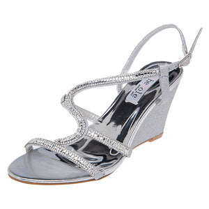 SheSole Rhinestones Wedge Sandals Prom Shoes - SheSole