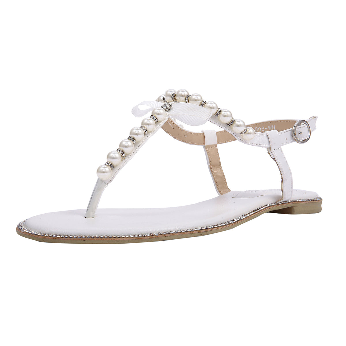 eb37806515e9 SheSole Women s Flat Beach Wedding Sandals Bridal Shoes Pearl White