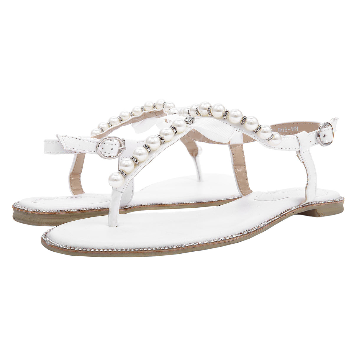 fc13a0e86 SheSole Women White Pearl Flat Sandals Flip Flops Bridesmaid Beach Wedding  Shoes. flat sandals. flat sandals