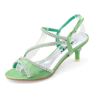 Green Prom Shoes Low Heel Dress Shoes - SheSole