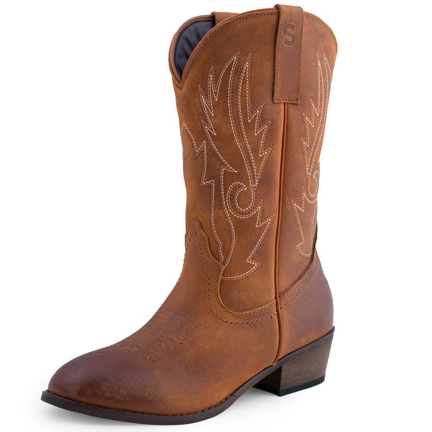 763386f770e62 Shesole Women's R Toe Leather Cowboy Boots Country Wedding Shoes