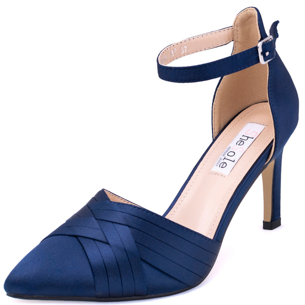 SheSole Pointed Toe Heels ankle strap Pumps Shoes - SheSole