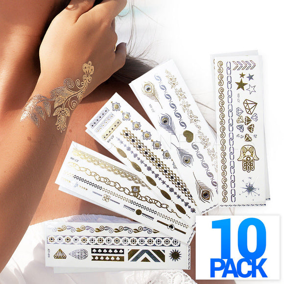 10 pack of Hawt Fashion Metallic Tattoos