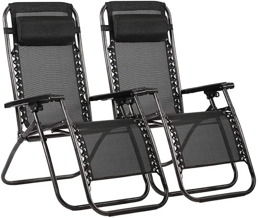 Zero Gravity Chair Patio Lounge Recliners Adjustable Folding Set of 2 for Pool Side Outdoor Yard Beach