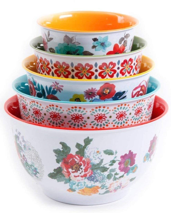 The Pioneer Woman 10-Piece Nesting Mixing Serving Bowl Set features Unique Vibrant Colors (Traveling Vines)