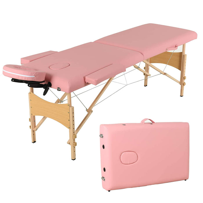 Uenjoy Folding Massage Table 84'' Professional Massage Bed 2 Fold Lash Bed with Head-& Armrest, Black