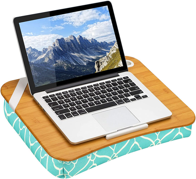 "LapGear Designer Lap Desk with Phone Holder and Device Ledge - Aqua Trellis - Fits up to 15.6 Inch Laptops - Style No. 45422,Medium - Fits up to 15.6"" Laptops"
