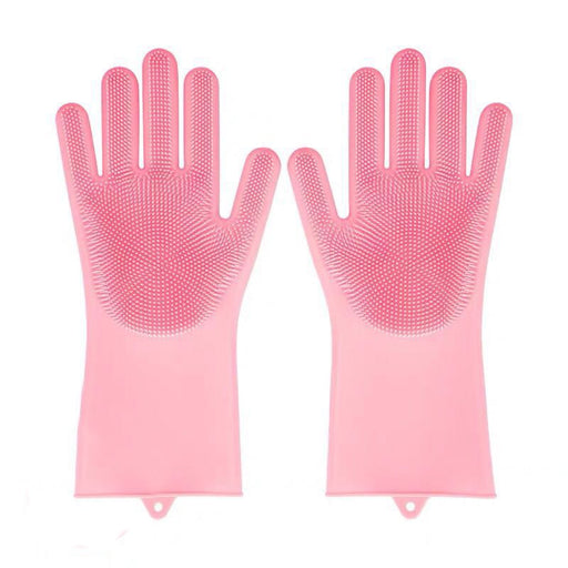 "Cleaning Sponge Gloves 2PCS, Dishwashing Gloves, Silicone Reusable Cleaning Brush Heat Resistant Scrubber Gloves for Housework, Kitchen Clean, Bathroom, Bathing, Car Washing. 1 Pair (13.6"" Large)"