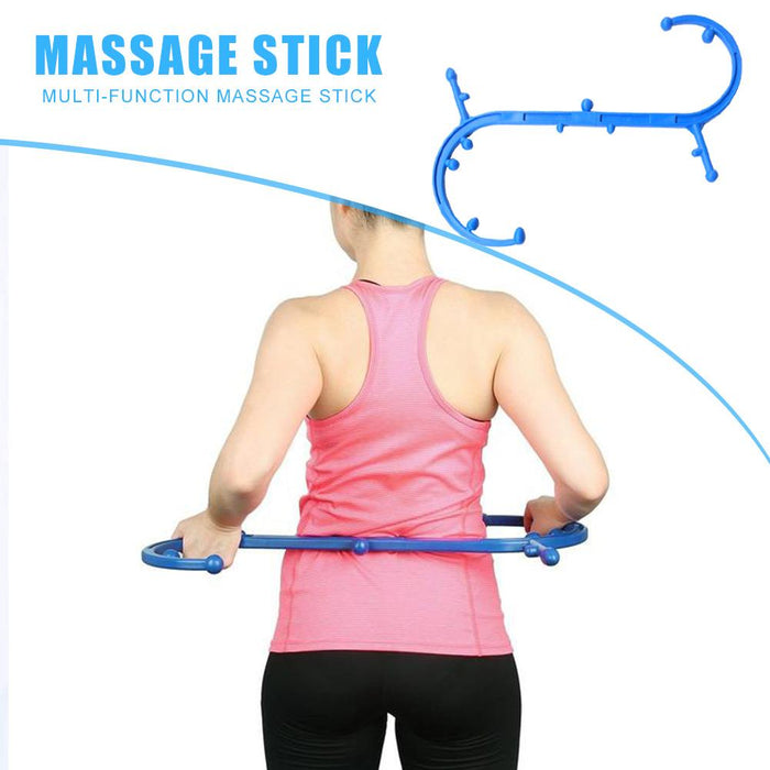 Portable Detachable S - J Trigger Point Self Massager- S-Shaped Therapy Massage Tool for Self Back Massage, Neck Massage, Shoulder Massage, Myofascial Release Tool & Deep Muscle Massage Stick(Blue)