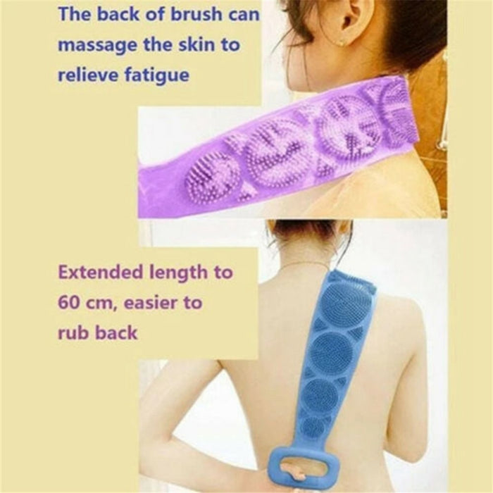 Silicone Back Scrubber For Shower - Body Brush For Bathing - For Back Cleansing And Exfoliating, Back Massage, All Parts Of The Body To Remove Ash And Mud