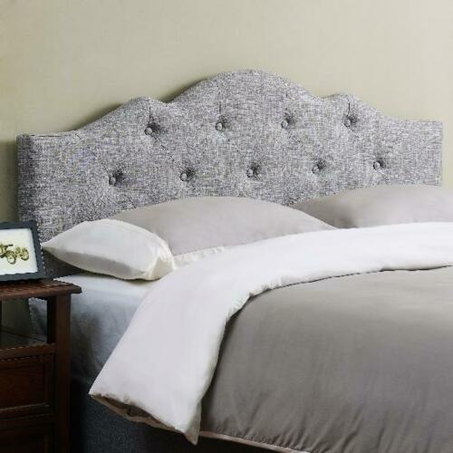 Minimal Tufted Bed Headboard Rounded Fabric Fits Standard Frame