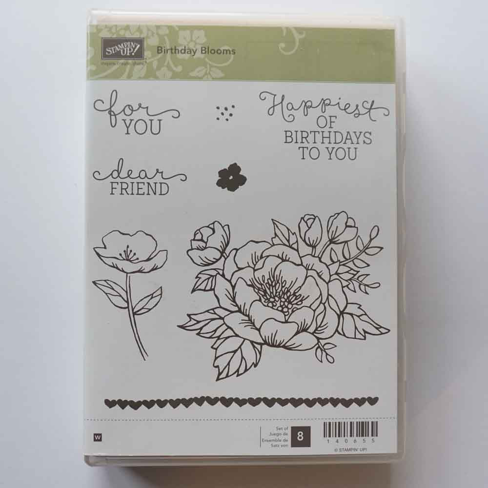 Birthday Blooms | Retired Wood Mount Stamp Set | Brand New, Never Used