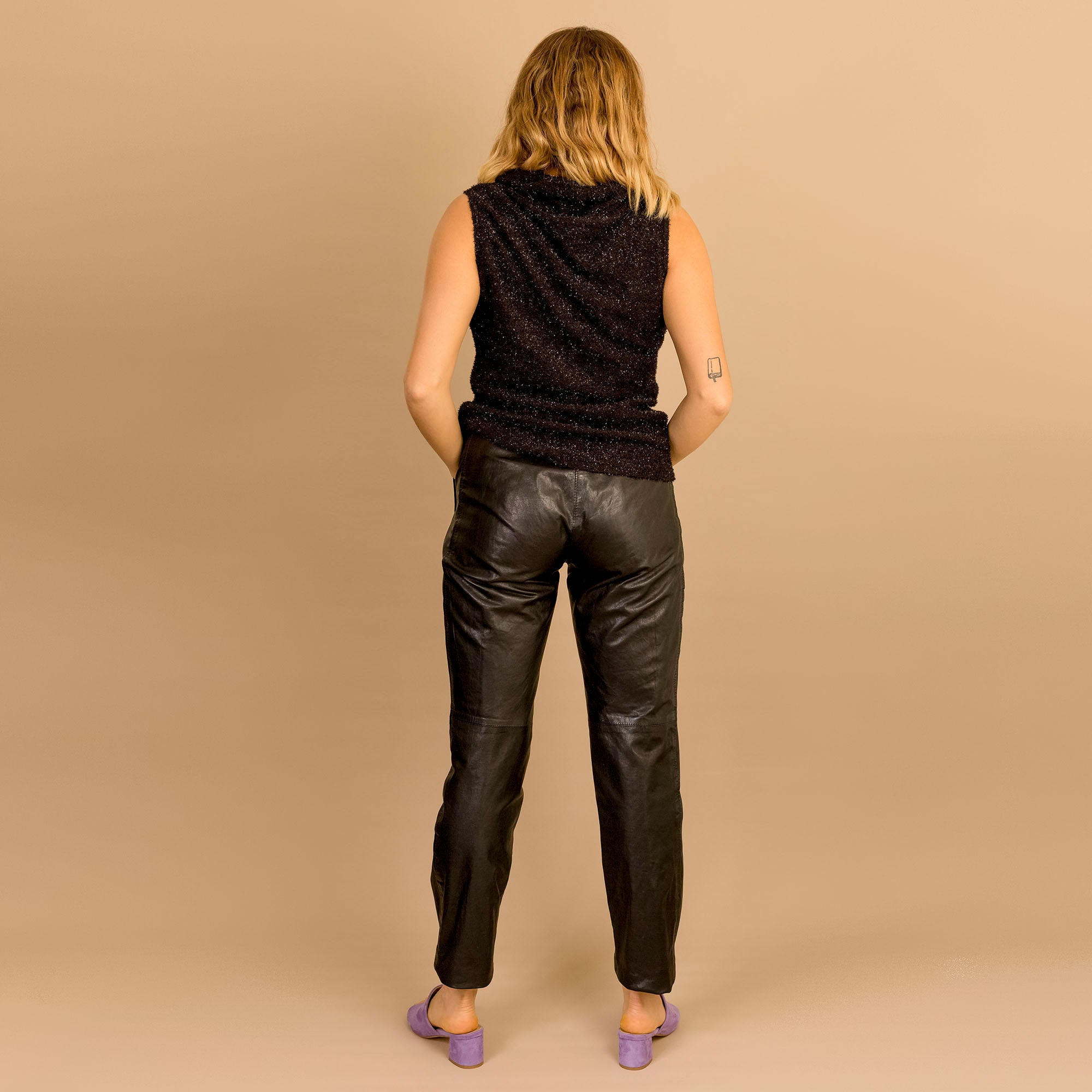 Black Leather Biker Pant