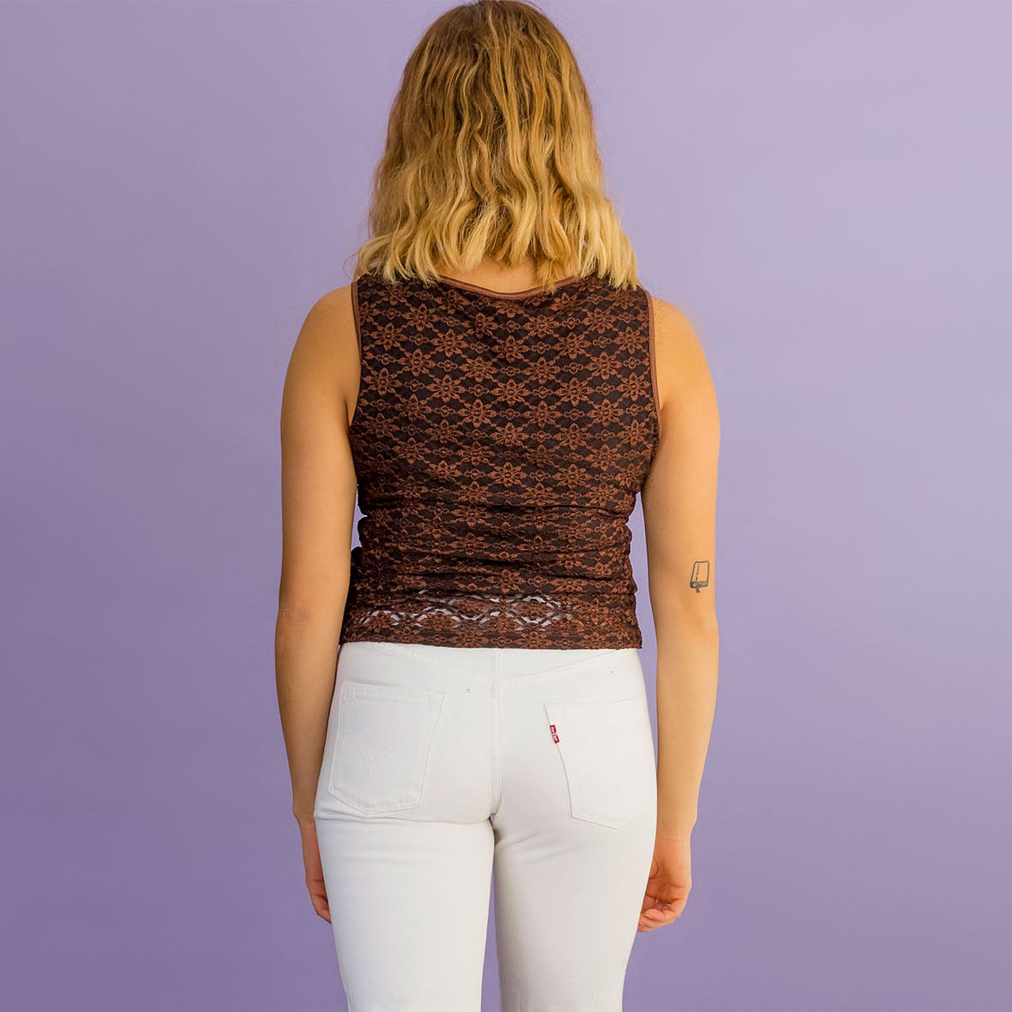 Brown Lace Tank