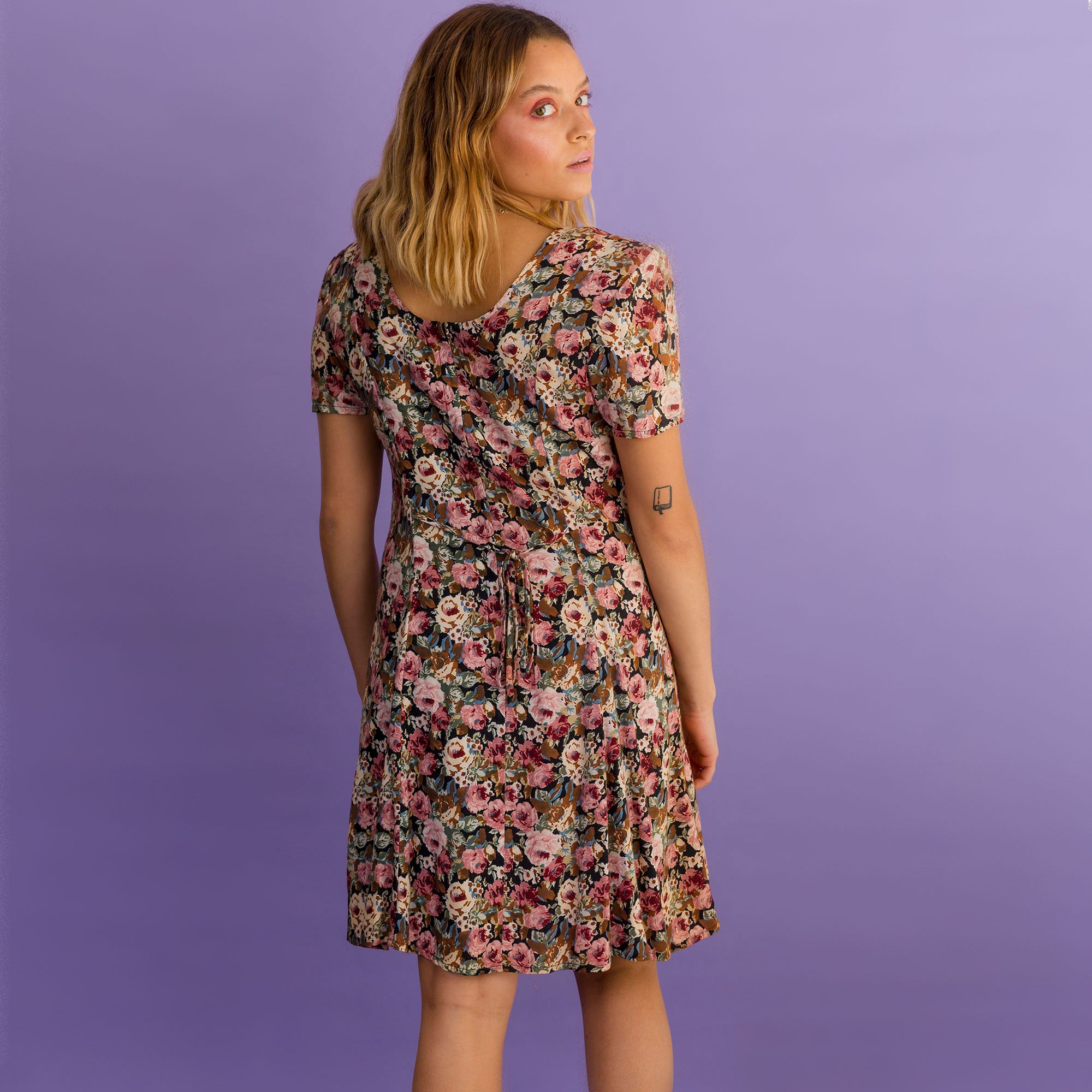 Natural Floral Tie Front Dress