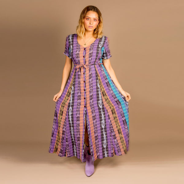 Purple Tribal Button Front Dress