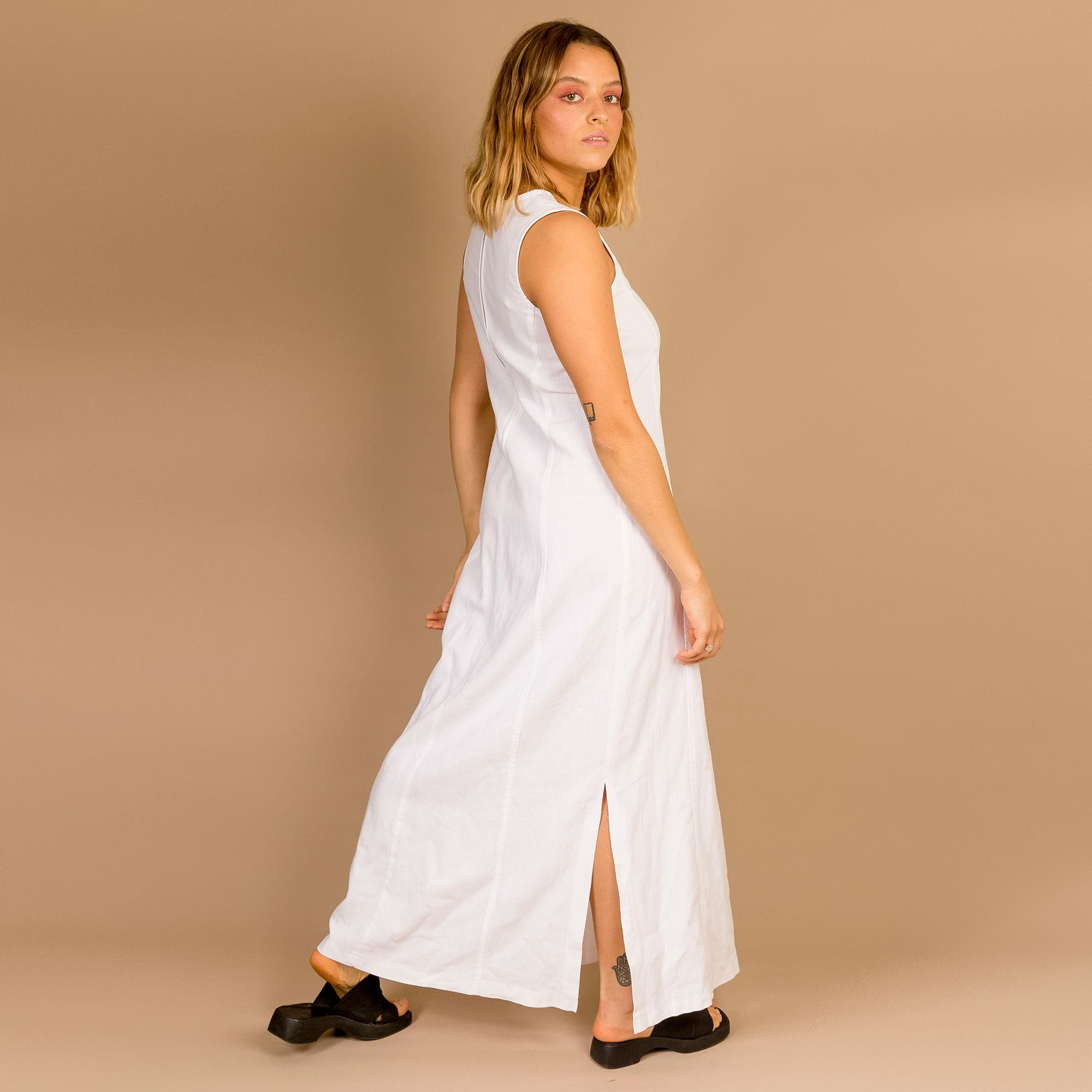 White Linen Blend Dress