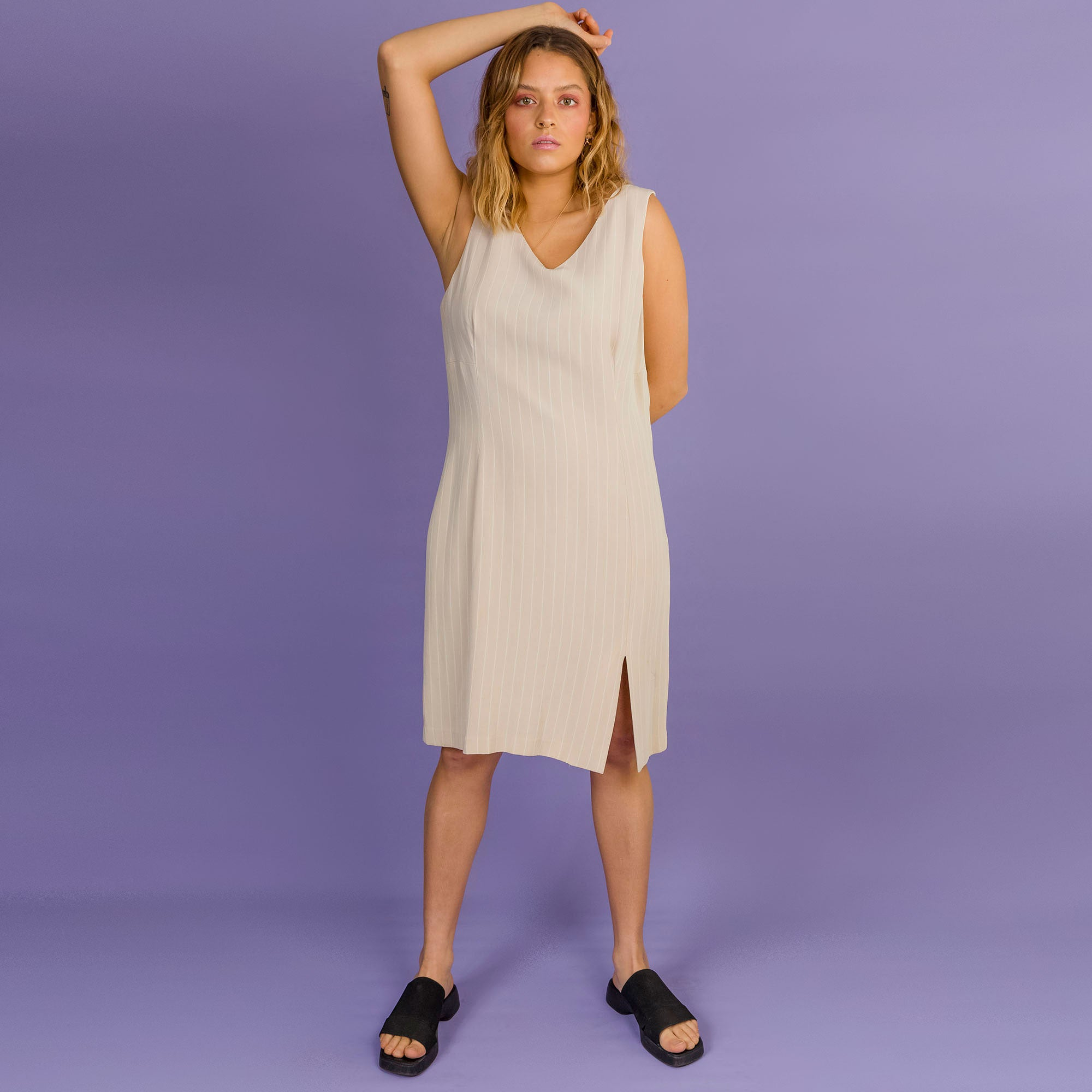 Beige Pin Stripe Dress