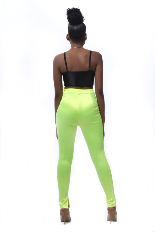 Juliet Green Satin Skyinny Pants