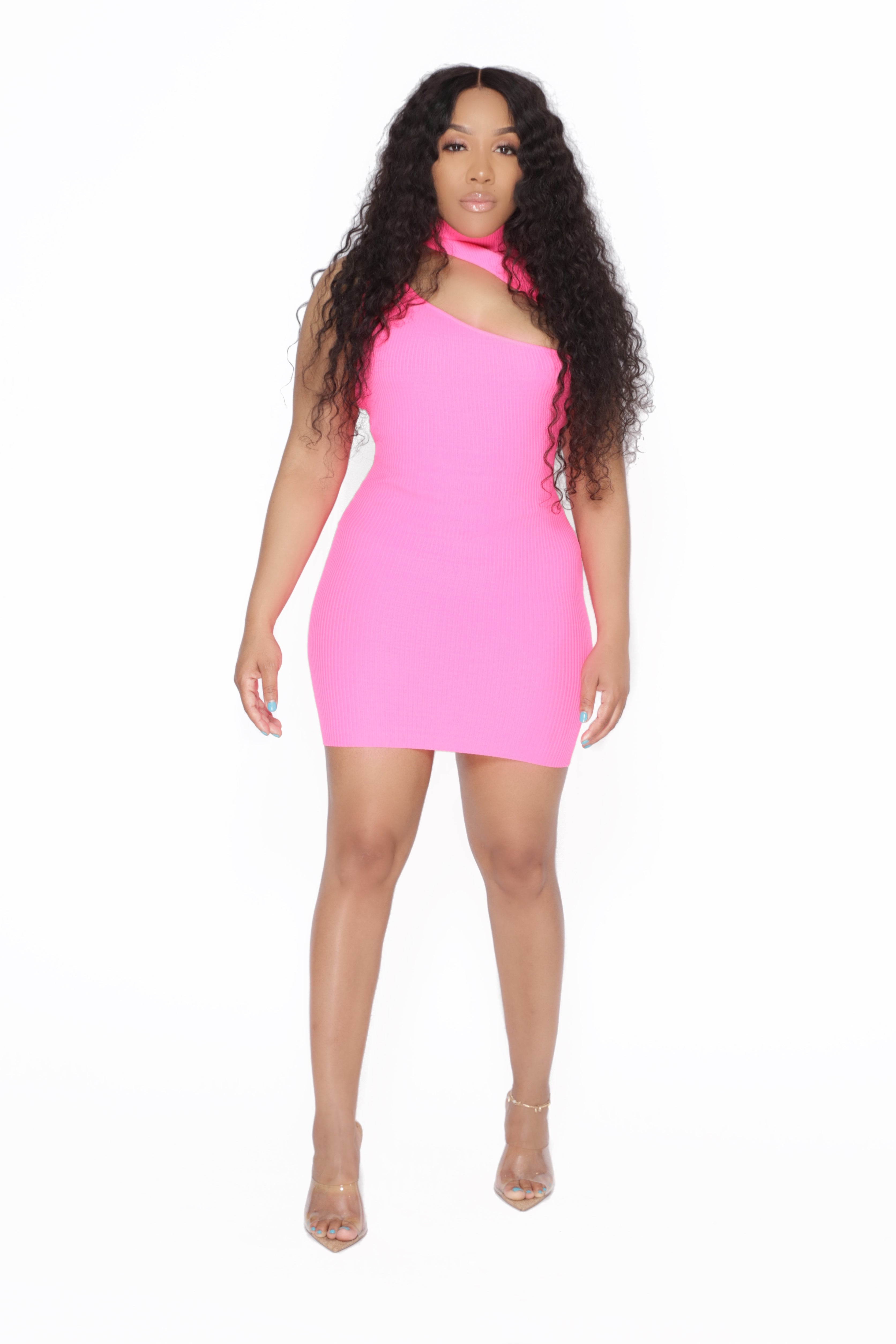 Neon Pink Mock Neck Dress