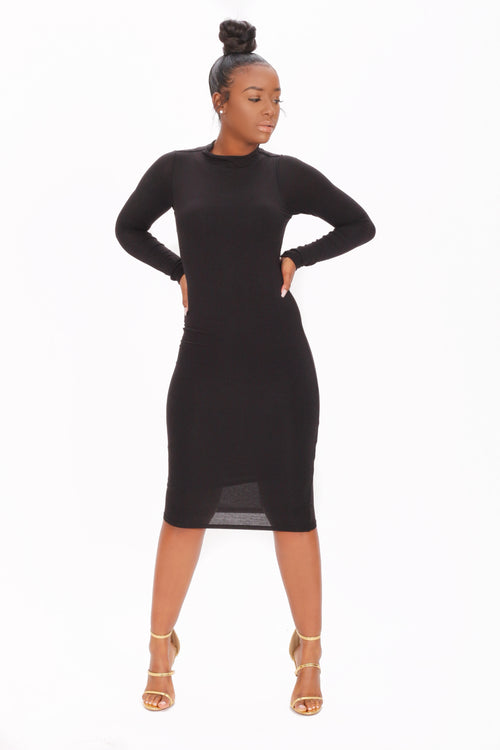 Keep It Simple Black Long Sleeve Dress