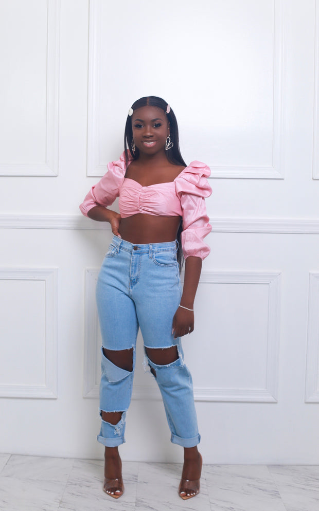 Lola Pink Puffy Shoulder Top