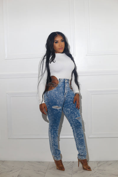 Saweetie Side Cut Out Jeans