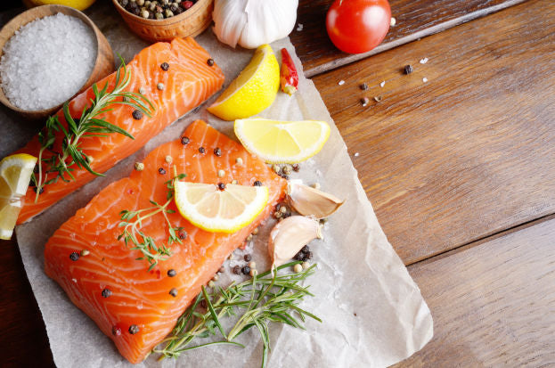 Fish like salmon are healthy snacks good for skin