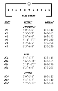 DREAMWEAVES GI SIZE CHART
