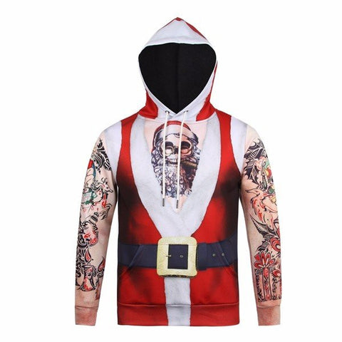 Christmas Theme Funny Santa Strong Arms Tattos Printing Front Pocket Casual Sport Hoodies