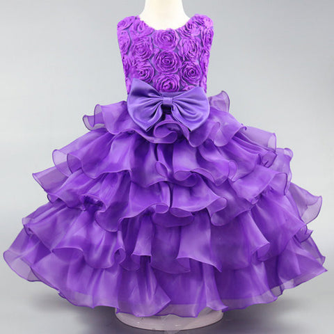 Pleated Floral Decorate Sleeveless Princess Dress For Kids Girl
