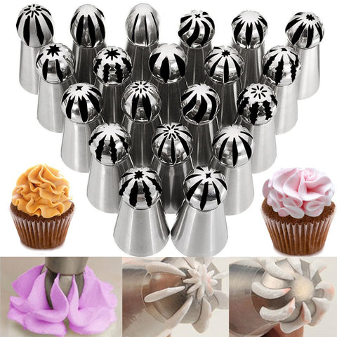 20 Pcs Sphere Ball Russian Cake Decor Icing Piping Nozzles Pastry Tips Baking Tool