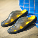 Men Toe Protecting Soft Beach Sandals Flat Outdoor Cool Backless Shoes