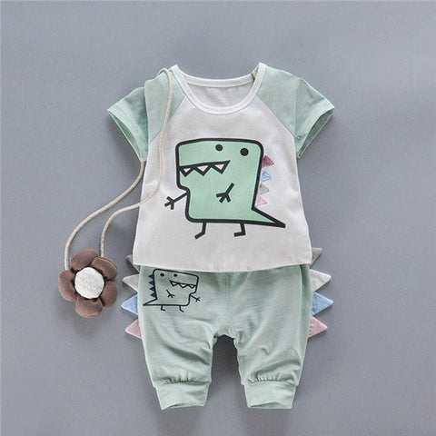 2PCS Kids Dinosaur Cute Casual Suits