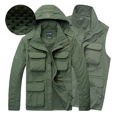 AFSJEEP Outdoor Water Resistant Detachable Sleeve Quickly Dry Detachable Hood Jacket for Men