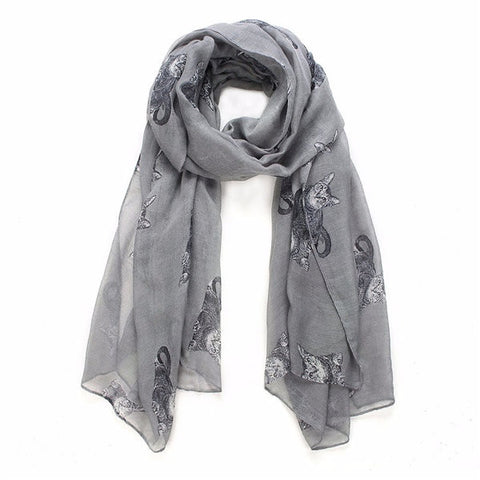Women Winter Neck Warm Cats Animal Print Scarf Shawl Wrap Stole Pashmina