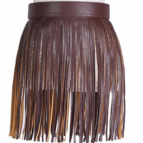 Women Fringed Skirt Waistband Closure Decorative Tassel Belt