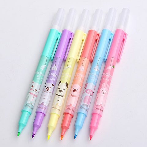 6Pcs Double Head Drawing Pen Highlighters Students Painting Pen Art Stationery Supplies