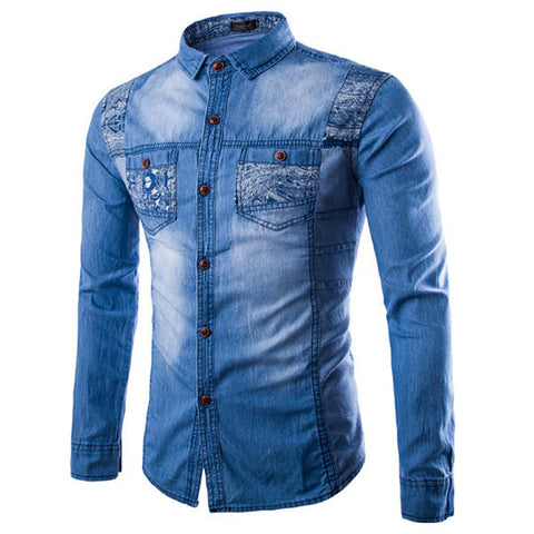 Long Sleeves Washed Denim Printing Double Chest Pockets Dress Shirts for Men