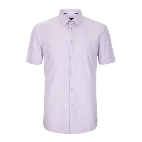 QIPAI Short Sleeves Casual Business Solid Color Dress Shirt for Men