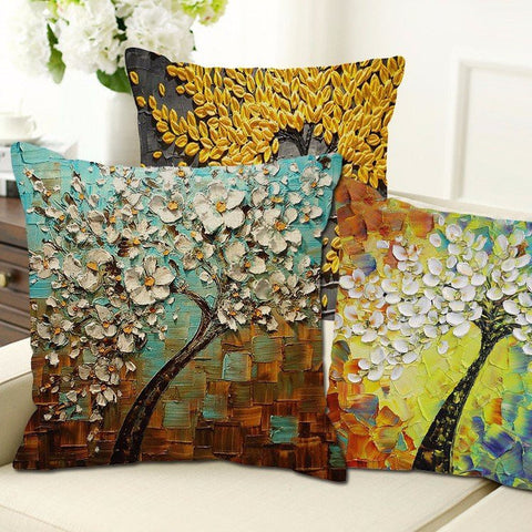 20 Styles 3D Vintage Flower Cotton Linen Pillow Case Waist Cushion Cover Bags Home Car Deco