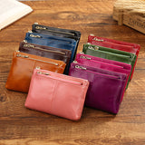 Women Genuine Leather Vintage Pure Color Wallet Coins Bags Card Holder Change Bags
