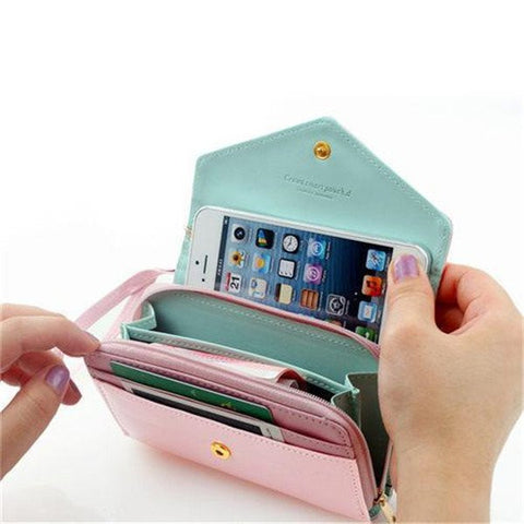 Three In One Stylish Smartphone Wallet, Purse & Wristlet - Assorted Colors