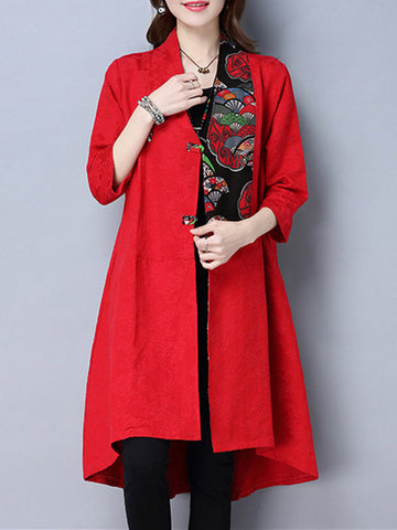 Vintage Women 3/4 Sleeve Printed Pocket Plate Buckle Spring Cardigans