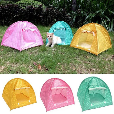 Pet Mini Nylon Camp Tent Bed Puppy Play House Sun Shelter Kitten Cat Kitten For Travel Garden