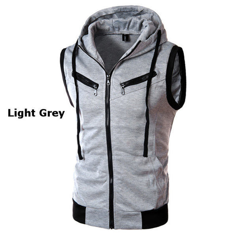 Mens Summer Casual Vest Fashion Sleeveless Hooded Vest