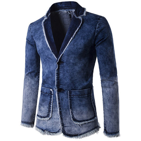 Casual Business Blue Suits Fashion Gradient Color Tassel Denim Washed Blazers for Men