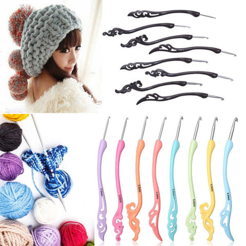 8Pcs Soft Handle Knitting Needles Set Aluminum Crochet Hook Weave Yarn Craft