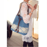 Women Canvas Casual National Style Shopping Bag Printing Bucket Shoulder Bags Handbags